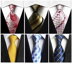 Wehug Lot 6 PCS Men's Ties Silk Tie Woven Necktie Jacquard Neck Ties Classic Ties For Men  ...