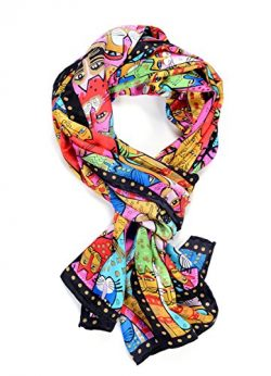 Salutto Women 100% Silk Scarves Black Cartoon Cat Head Printed Scarf
