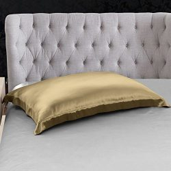 THXSILK 100% 19mm Mulberry Silk Pillowcase Pillow Sham for Hair and Skin (Metallic Gold, Standard)