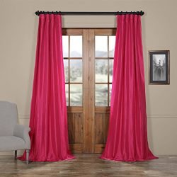 Half Price Drapes PTCH-JTSP203-96 Faux Silk Taffeta Curtain, Fuchsia Rose