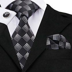 Hi-Tie Fashion Black Tie Handkerchief Cufflinks set Woven Silk Necktie for Men