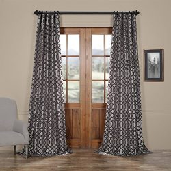 Half Price Drapes PTFFLK-C23F-96 Flocked Faux Silk Curtain, 50 x 96, Silver & Pewter