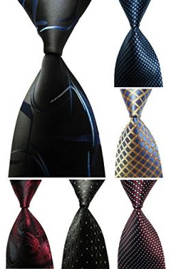 Wehug Lot 6 PCS Men's Ties 100% Silk Tie Woven Slim Necktie Jacquard Neck Ties style003