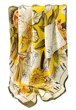 Grace Scarves 100% Silk Scarf, Extra-Large, Flowers & Pen & Ink Wildlife, Yellow/Green