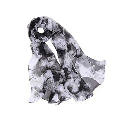 MELODY STORY Unique Print Silk Feeling Scarf For Women 63×20 Inches (BLACK&WHITE)