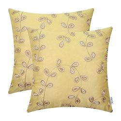 Pack of 2 CaliTime Faux Silk Throw Pillow Covers Cases for Home Sofa Couch 18 X 18 Inches, Cute  ...