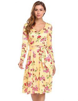 Opino Women Autumn High Waist 50s 60s Rockabilty Vestido Party Dress Yellow L