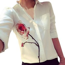 TOPUNDER Women Long Sleeve Rose Flower Blouse Turn Down Collar Chiffon Shirts (XL, White)