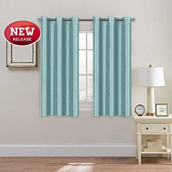 Room Darkening Home Decoration Blue Curtain Light Filtration Faux Silk Drape with 6 Nickel Gromm ...