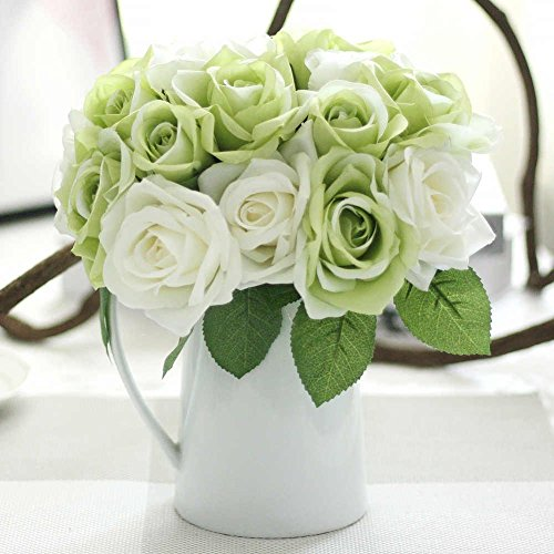 Artificial Flowers, Fake Flowers Silk Plastic Artificial Roses 9 Heads Bridal Wedding Bouquet fo ...