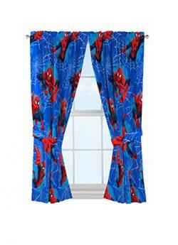 Marvel Spiderman 'Astonish' Curtain Panel 42″ x 63″ Pair with Tie Backs Set