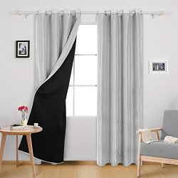 Deconovo Dupioni Faux Silk Lined Thermal Insulated Grommet Blackout Curtains for Living Room 52W ...
