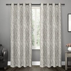 Exclusive Home Curtains Oakdale Sheer Grommet Top Window Curtain Panel Pair, Dove Grey, 54×84