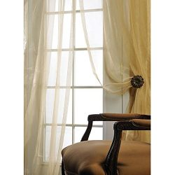 Ivory Silk Organza 108-inch Wide X 120″ Long Sheer Curtain Panel