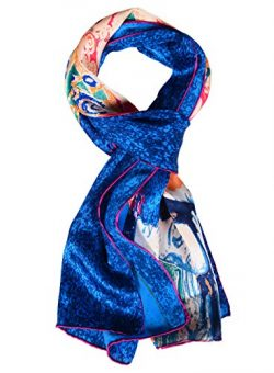 Salutto Women 100% Silk Scarves Ladies Painted Scarf