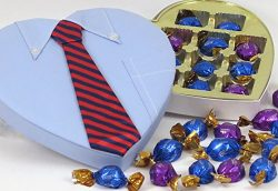 Man's Valentine heart, includes Godiva chocolate truffle selection, unique executive shirt ...