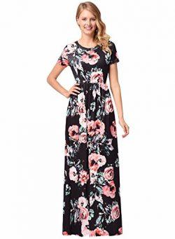 Women Silk O-Neck Short Sleeve Floral Print Long Maxi Party Beach Dress Black 2XL