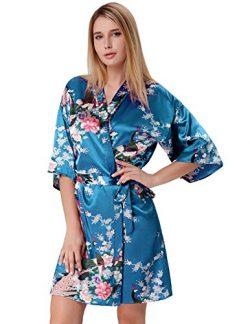 Women's Printing Lotus Kimono Robe Silk Bridal Robe Turquoise Size M ZE53-4