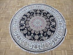 5'11 X 5'11 Round Hand Knotted Navy Blue Fine Nain With Silk Oriental Rug G5365