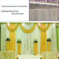 3Mx3M Three Fold Yellow Wedding Stage backdrop party drapes with swag silk fabric curtain#021236