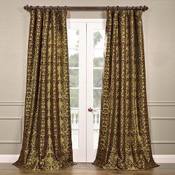 Half Price Drapes PTFFLK-C7-84 Flocked Faux Silk Curtain, 50 x 84, Firenze Fern