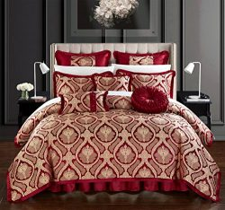 Chic Home Jodamo 9 Piece Comforter Set Jacquard Scroll Faux Silk Bedding with Pleated Flange  ...