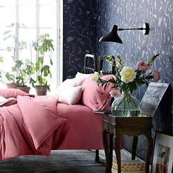 Veamor Pink Duvet Cover Queen Set With Zipper Closure Egyptian Cotton King Bedding Set 3 Pcs Twi ...