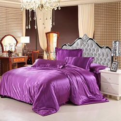 Luxury 4-Piece Satin/Sateen Silky Bed Sheet Set Bedding Collection,Summer Duvet Cover Sets Flat  ...