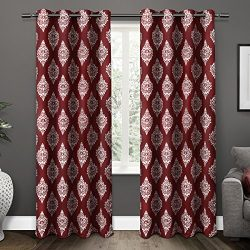 Exclusive Home Curtains Medallion Thermal Blackout Grommet Top Window Curtain Panel Pair, Burgun ...