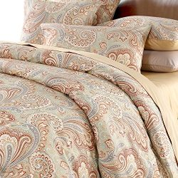 Softta Paisley Bedding Design 800 Thread Count 100% Cotton 3Pcs Duvet Cover Set ,Cal King Size,Khaki