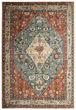Abacasa Sonoma Jewels Area Rug, 5-Feet 3-Inch by 7-Feet 6-Inch, Aqua/Celadon/Rust/Tan