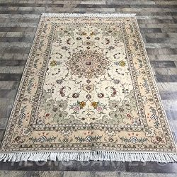 Yilong 4'x6′ Traditional Tabriz Wool Silk Hand Knotted Carpet Oriental Persian Area Rugs