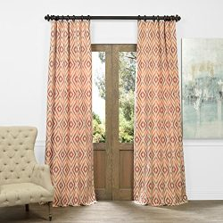 Half Price Drapes JQCH-AS225098-108 Faux Silk Jacquard Curtain, Dart Rust, 50″ x 108″