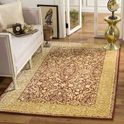 Safavieh Silk Road Collection SKR213G Handmade Maroon and Ivory New Zealand Wool Area Rug (3&#82 ...