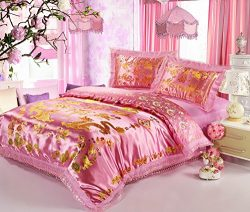 Best Jacquard Chinese Wedding Bed Set Dragon Phoenix Double Blessing Embroidery Lace Silk Quilte ...