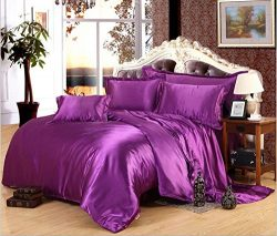 Newrara Purple Color Silk Bedding Set Duvet Cover Silk Pillowcase Silk Sheet Luxury Bedding(Quee ...