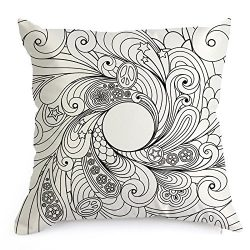 Zehui DIY Imitated Silk Fabric Invisible Zipper Decorative Coloring Pillowcase with 12 Doodle Co ...