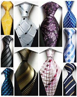 Wehug Lot 10 PCS Men's Ties 100% Silk Tie Woven Slim Necktie Jacquard Neck Ties Classic Ti ...