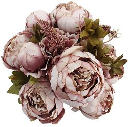 Duovlo Fake Flowers Vintage Artificial Peony Silk Flowers Wedding Home Decoration,Pack of 1 (Swe ...