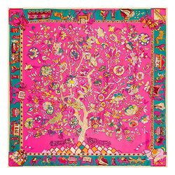 JIUMAN Womens Extra Large Silk Square Scarf Luxury Designer Scarf 51×51 Inches