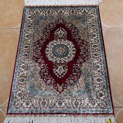 Yilong Carpet 2'x3′ Hand Knotted Kashmir Silk Rug Oriental Classic Medallion Hand Wo ...