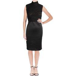 Vera Wang Women's Sleeveless Cocktail Dress, Black/Nude, 2