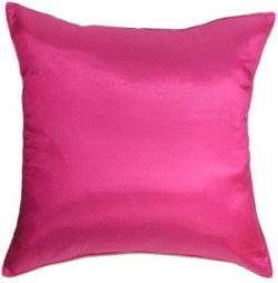 Artiwa Throw Silk Decorative Pillow Cushion Cover for Sofa Couch Bed Large 24×24 in. Solid  ...