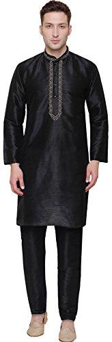 Silk Dupion Mens Kurta Pajama India Clothing (Black, M)