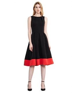 Simple Retro Women's Cocktail Dress Vintage Sleeveless Boat Neck Pleated Party Formal Swin ...