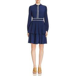 Tory Burch Womens Winston Contrast Trim Sheath Casual Dress