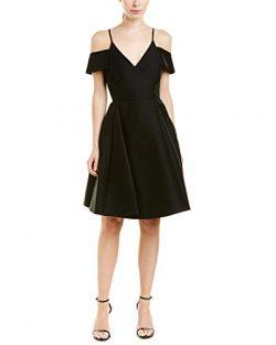 HALSTON HERITAGE Women's Short Sleeve Cold Shoulder V Neck Silk Faille Dress, Black, 14