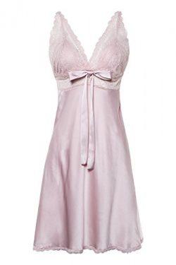 BellisMira Women's Satin Lace Full Slip Chemise Silk Nightgown Sleepwear Pink, M