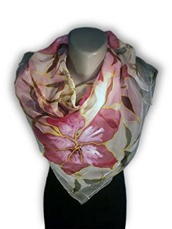 RED SUMMER Hand-Painted Silk Scarf