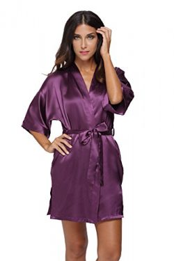 The Bund womens Pure Colour Short Kimono Robes with Oblique V-Neck purplered Medium